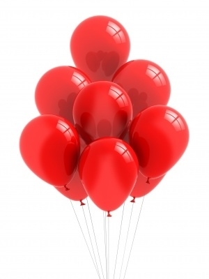 Balloons, red, air, breath, decoration, party, colour