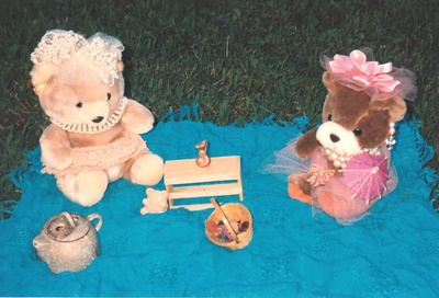 Bears, teddy bear, toy, outdoors, mat, sitting, picnic, food, lunch