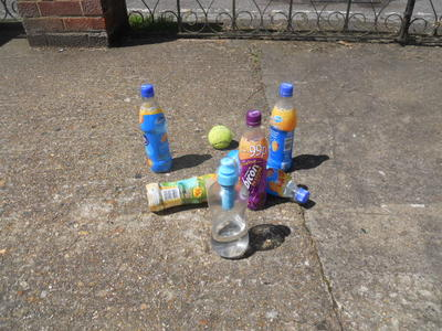 bottles, soft drinks, bowling, tennis ball