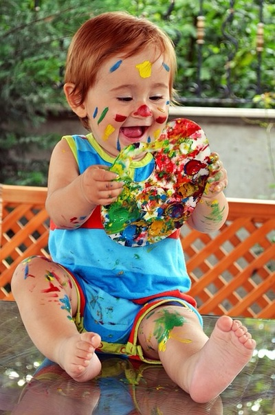 Girl, child, baby, toddler, paint, mess, fun, covered, outdoors, fun, explore, playing