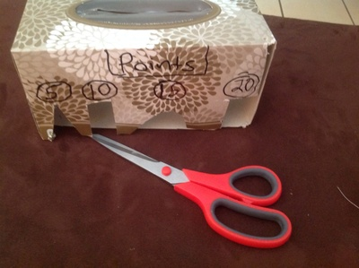 Tissue box, recycling, box, cut outs, scissors, number, reuse, craft, black marker